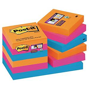 Pack 12 blocos 90 notas adesivas Post-it Super Sticky - cores Bangkok