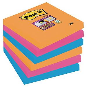 POST IT SUPER STICKY BRIGHT NOTES ELECTRIC GLOW 76X76MM PACK OF 6