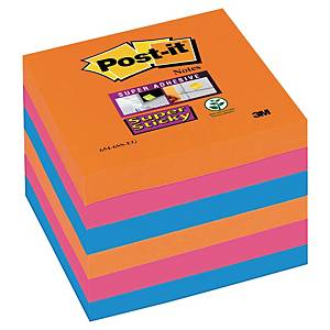 Post-it® Super Sticky Notes 654-SSEG, couleurs Bangkok, 76 x 76 mm, les 6