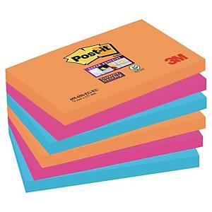 Notes Post-it® Super Sticky 655-SSEG, 76x127mm, couleurs Bangkok, paquet de 6