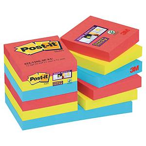 Pack 12 blocos 90 notas adesivas Post-it Super Sticky - cores Bora Bora