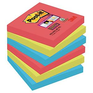 3M Post-it® 654 Super Sticky öntapadó jegyzettömb 76x76mm, színes, 6 tömb/90 lap