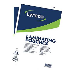 LYRECO LAMINATING POUCH A4 150MI (75MIX2FLAPS) MATT BOX OF 100