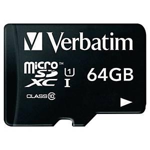 VERBATIM MICRO SDXC UHS-I 64GB CL10 W/AD