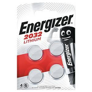 Knapcelle batterier Energizer Lithium CR2032, 3V, pakke a 4 stk.
