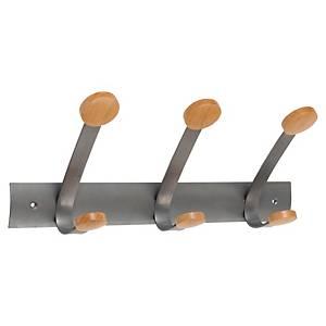 Patère Alba PMV3 en métal et en bois, 3 doubles crochets