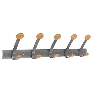 Knaggrekke Alba, 5 knagger, grå, metall/tre