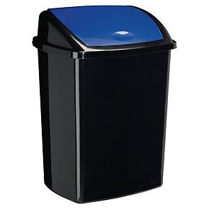 bin black with plastic swing lid 50l blue