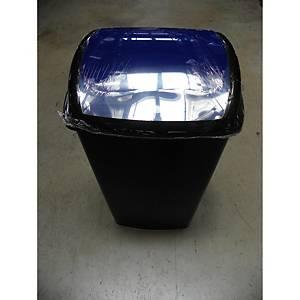 Contentor de reciclagem com tampa basculante Cep - 50 L - preto - tampa azul