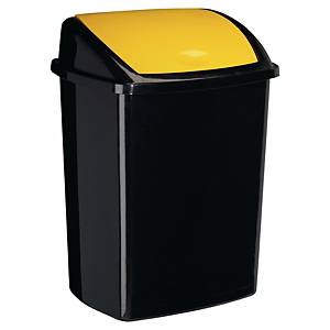 bin black with plastic swing lid 50l yellow