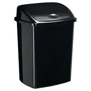 bin black with plastic swing lid 50l black
