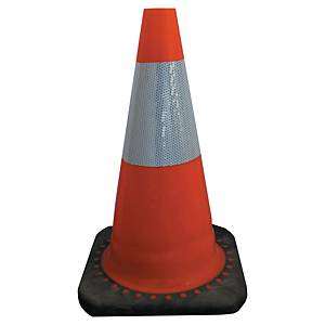 Viso reflective traffic cone with rubber base PP height 45 cm orange/white