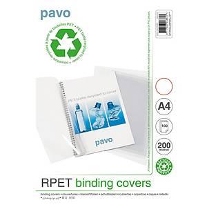 Plat de couverture Pavo A4, récyc., 200microns, transp., paq. 100unités
