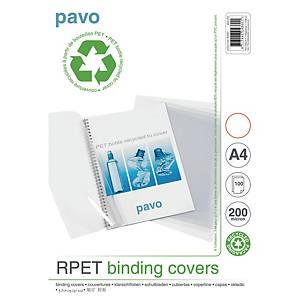 Pavo újrahasznosított borítólap PET-ből, A4, transzparens, 100 darab/csomag