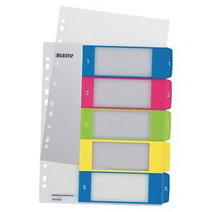 Register Leitz 1241, 1-5, A4+, aus Kunststoff, 5 Blatt, farbig