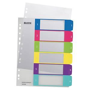 Register Leitz 1242, 1-6, A4+, aus Kunststoff, 6 Blatt, farbig