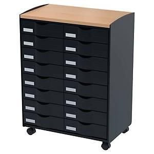 Mueble multifunción con ruedas Paperflow - 16 cajones - negro/haya