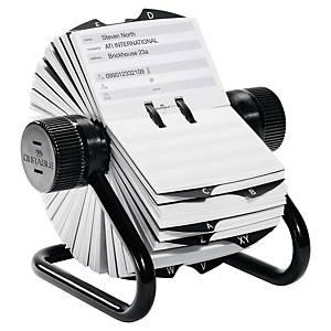 Durable Telindex forgatható kartotékozó 500 db névjegykártya számára, fekete