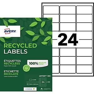 Etiquette adresse recyclée Avery - LR7159 - 63,5 x 33,9 mm - blanche - par 2400