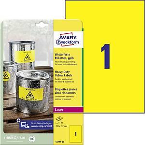 Wetterfeste Avery Polyestrer-Etiketten, gelb, L6111-20, 210 x 297 mm, 1 Etikette