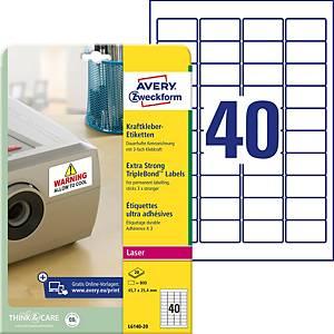 Étiquettes Avery Zweckform L6140-20 45,7x25,4mm blc 20feuilles, 800unités