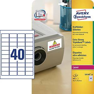 Kraftkleber Etiketten Avery Zweckform L6140-20, 45,7x25,4mm (LxB), weiß, 800 St.