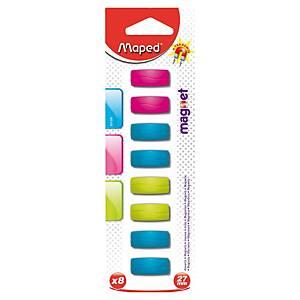 Aimant surpuissant Maped - rectangulaire - 27 mm - coloris aléatoires - lot de 8