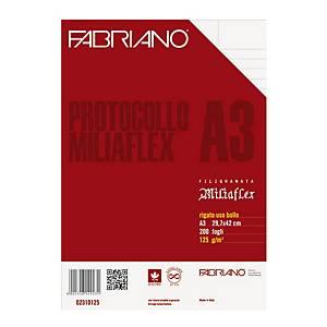 Carta protocollo uso bollo Fabriano Miliaflex A3 125 g/mq - risma 200 fogli