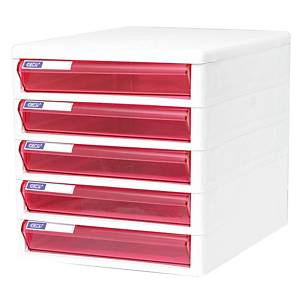 ORCA TCB-5 Cabinet 5 Drawers White/Pink