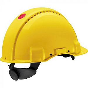 3M G3000 veiligheidshelm, geel, met draaiknop
