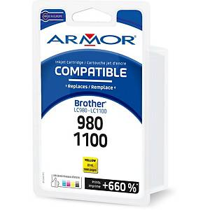 Cartouche d encre Armor compatible équivalent Brother LC980Y - jaune