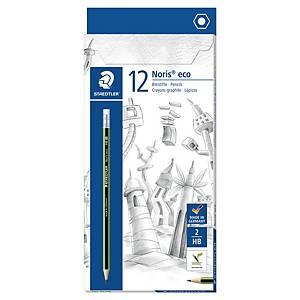 Crayon de bois Staedtler Noris - HB - embout gomme - boîte de 12