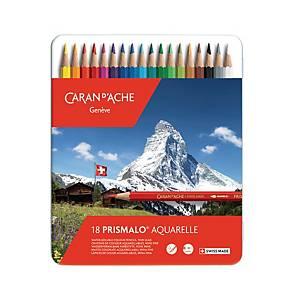 Crayons de couleur Caran d Ache Prismalo I, ens. 18 en boîte métallique