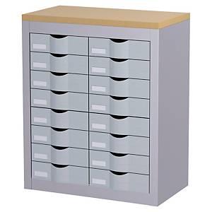 Meuble de classement Paperflow - 16 tiroirs - H 75 cm - gris/hêtre