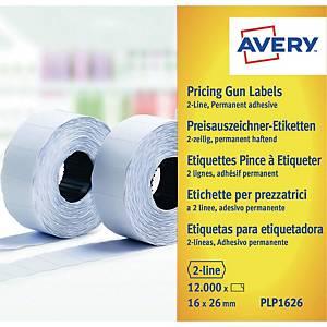 Etiket Avery, til prismærkepistol, 2 linjer, 26 x 16 mm, hvid, 10 ruller