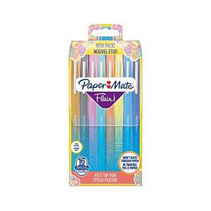 Paper Mate Flair Pen, 1.1mm Medium Tip, Assorted Colours, Wallet of 16