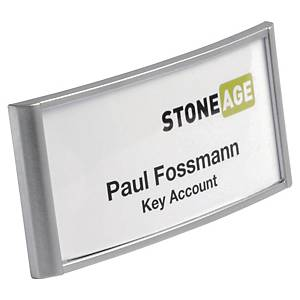 Durable Name Badge w/Combi Clip 30x65mm Silv - Pack of 10