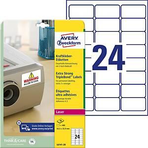 Etiketten Avery Zweckform L6141-20 63,5x33,9mm weiss 20 Blatt à 480 Stück