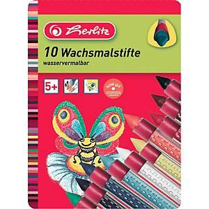 Wachsmaler Herlitz 8648008, farbig sortiert, 10 Stück