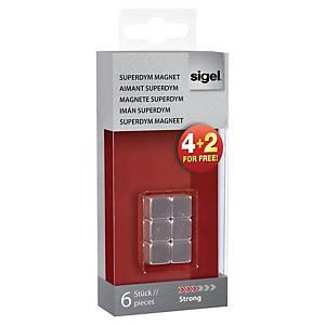 Aimants cubiques Sigel SuperDym, argentés, le paquet de 4 + 2 gratuits