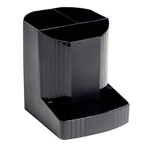 Exacompta MINI-OCTO ECOBlack Recycled Pen Pot, 3 Sections, Black