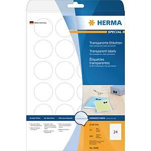 Étiquettes rondes transparentes Herma 4686, 40 mm de diamètre, la boîte de 600
