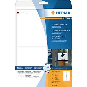 Etiquettes inaltérables Herma 9534, blanches, 99,1 x 139 mm, les 40 étiquettes