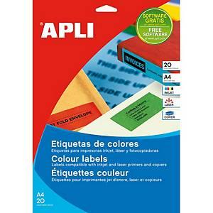 Caja de 480 etiquetas adhesivas Apli 1592 - 70 x 37 mm - azul