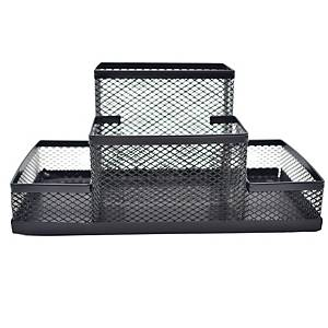 Deli 4 in 1 Desk Organiser H100 X W201 X D102mm Black