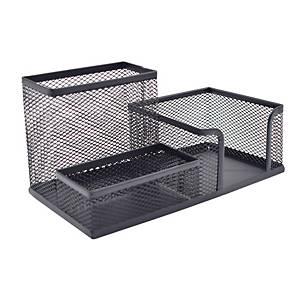 Deli 3 in 1 Metal Desk Organiser H100 X W155 X D100mm Black