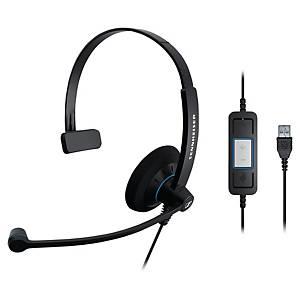 Sennheiser SC30 PC headset met snoer, monauraal met 1 oorschelp