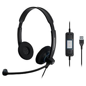 Sennheiser SC60 pc headset met snoer, binauraal met 2 oorschelpen