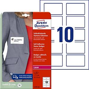 Étiquettes textiles Avery Zweckform L4785, 50x80mm, soie/acétate, 200unit.