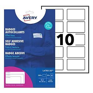 Badge adhésif Avery - L4785-20 - 8 x 5 cm - blanc - boîte de 200